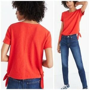 Madewell Red Texture & Thread Modern Side-Tie Top
